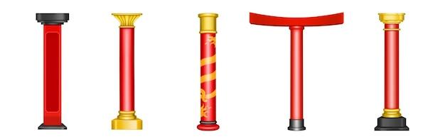 中国の赤い柱、アジアの寺院、塔、望楼、アーチ、門の歴史的な金の建築装飾。