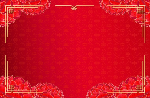 Chinese red template background with peony and lotus. web banner social network or brochure. vector stock illustration