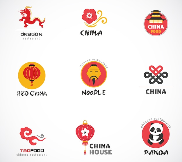 Chinese restaurant and coffee shops logos set