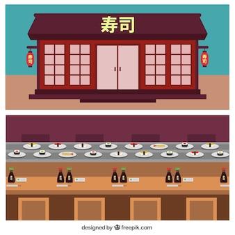 フラットデザインの中華料理店のファサード