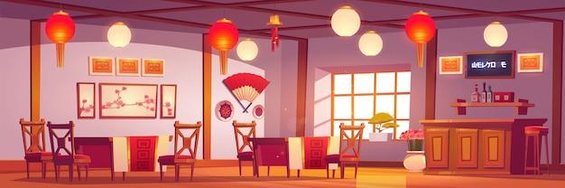 中華料理店のインテリア、赤と金の装飾が施された伝統的なアジアンスタイルの空のカフェ、ランタン、桜の写真、キャッシャーデスク、木製のテーブルと椅子のあるカフェテリア漫画イラスト
