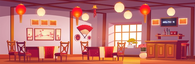 Chinese restaurant interior, empty cafe in traditional asian style with red and gold decor, lanterns, sakura pictures, cashier desk, cafeteria with wooden tables and chairs cartoon illustration