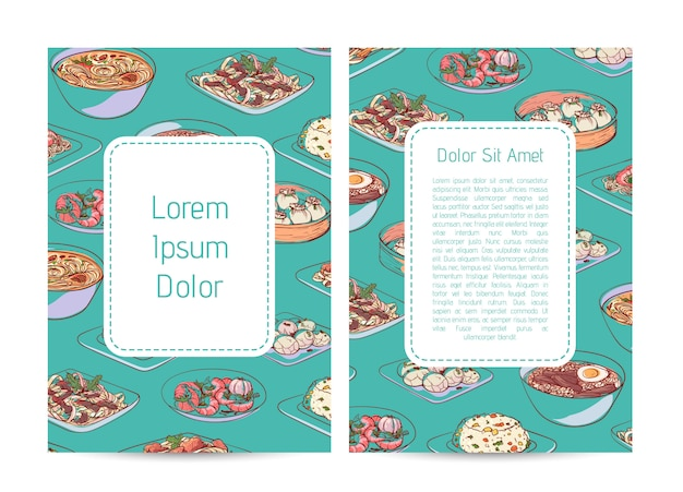 Chinese restaurant menu template with asian dishes