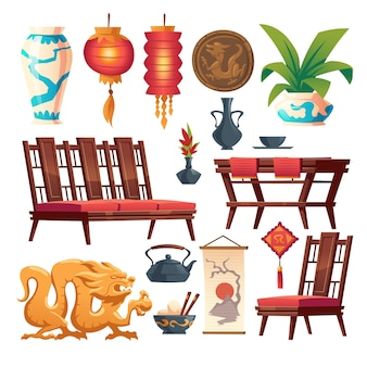 Chinese restaurant stuff isolated set. traditional asian cafe decor, red lantern, wooden table and chairs, vase and coin with dragon, rice in bowl with sticks, tea pot, cartoon illustration