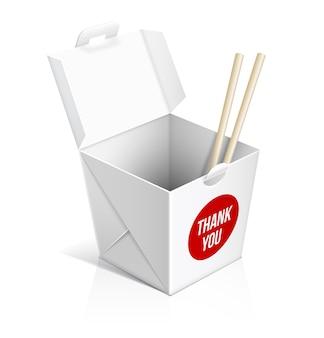 중국 식당 테이크 아웃 박스. 식품 용기, 점심 상자, 판지 포장.