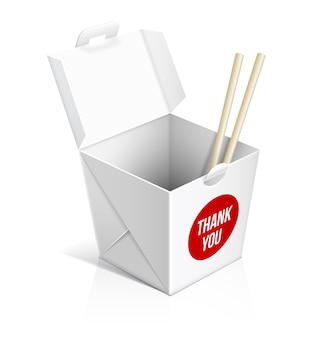 Chinese restaurant take away box. food container, box for lunch, cardboard package.
