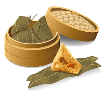 Chinese rice dumpling, zongzi take from the steamer for dragon boat festival