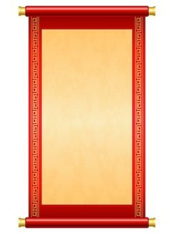 Chinese scroll illustration on white background
