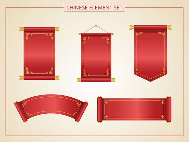 Chinese scroll with red color in papercut style.