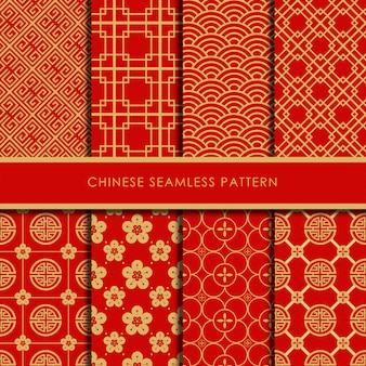 Chinese seamless pattern vector set