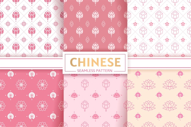 Chinese seamless patterns vector set floral textures lotus flowers and leaves ornament texture