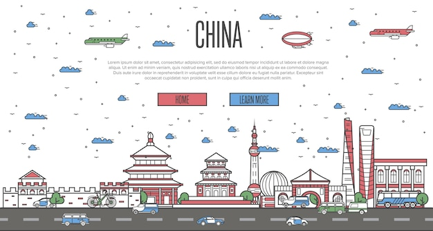 Chinese skyline with national famous landmarks