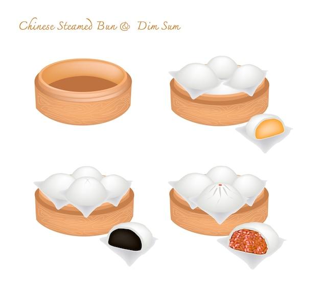 대나무 바구니에 중국 찐 롤빵과 물건