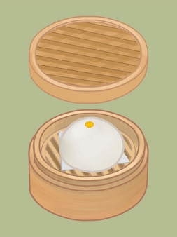 Chinese steamed bun in a basket illustration