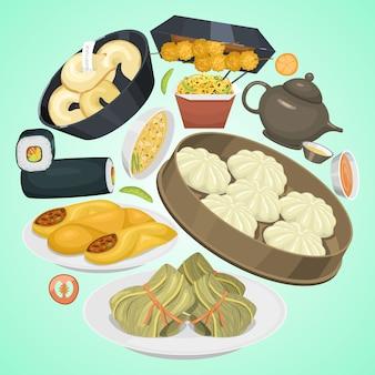 中華街、レストラン、または自家製料理のエスニックメニュー。アジアのディナー皿。
