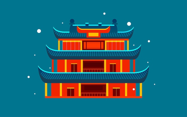 Chinese style ancient architecture city scenic spot illustration of changsha landmark tourism