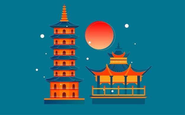 長沙ランドマーク観光ポスターの中国風古代建築都市景勝地イラスト