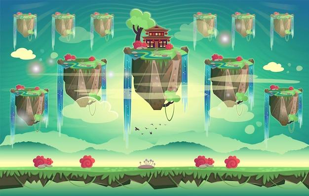 Китайская летняя пагода на фоне карикатуры горы бесшовный фон для игр.