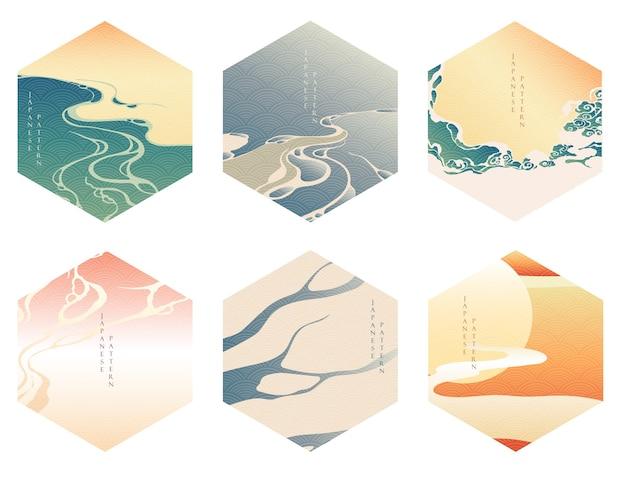 波の要素を持つ中国のテンプレート。オリエンタルスタイルの夕日と川の背景。幾何学的なバナー。グラデーションの壁紙とアジアのパターン。
