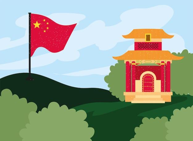 중국 사원 및 깃발