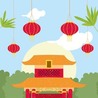 중국 사원과 등불