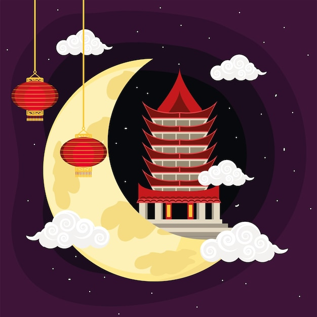 Chinese temple and full moon