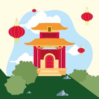 자연 풍경에 중국 사원