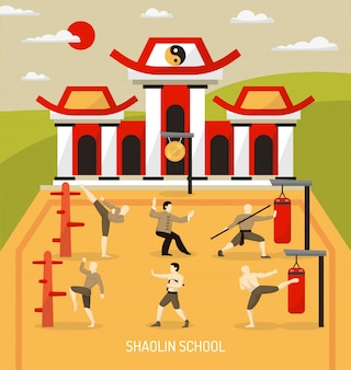 Chinese temple martial arts illustration