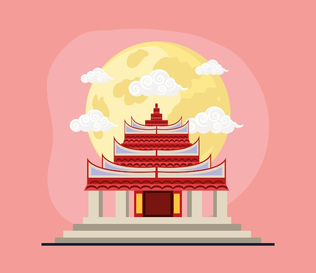 Chinese temple moonlinght