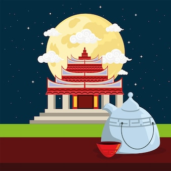 Chinese temple and teapot