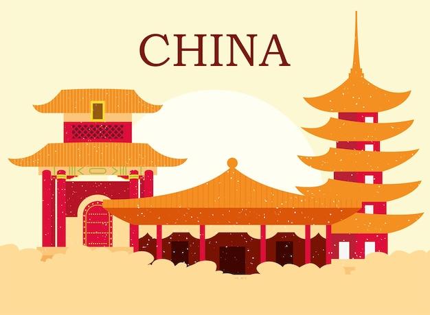 구름이 있는 중국 사원