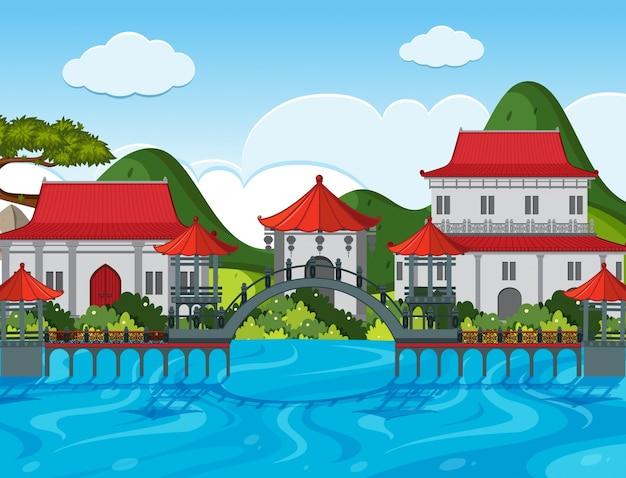 강 건물 중국 테마 배경