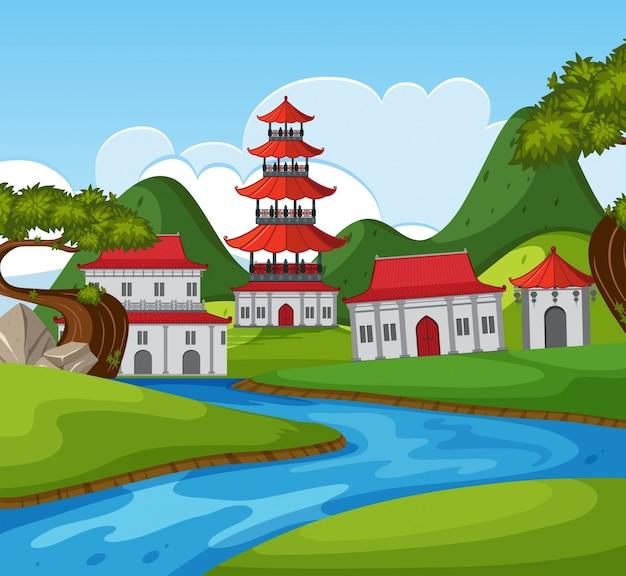 강 많은 건물과 중국 테마 배경
