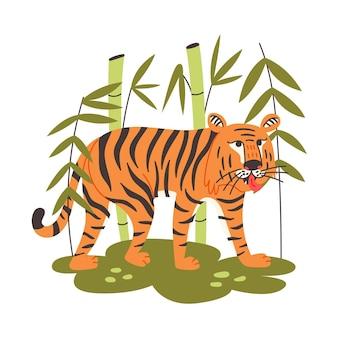 Китайский тигр среди бамбука. дикий хищник, царь зверей. животное векторные иллюстрации плоский мультяшном стиле