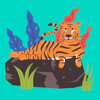 Китайский тигр лежит на скале. дикий хищник, царь зверей. животное векторные иллюстрации плоский мультяшном стиле