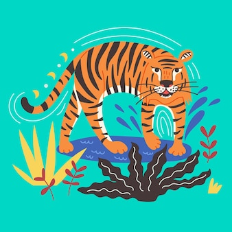 Chinese tiger standing in water. wild predator king of beasts. animal vector illustration flat cartoon style