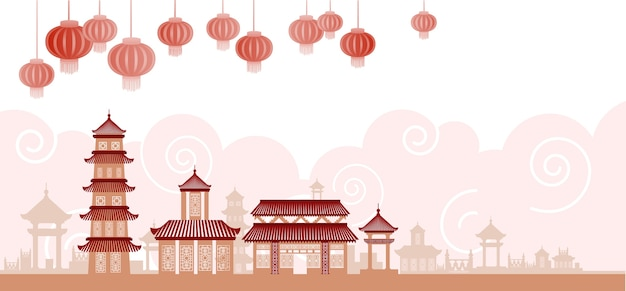 Chinese traditional abstract buildings