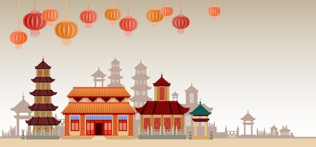 Китайские традиционные абстрактные здания