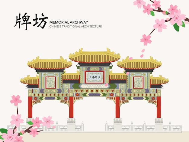 中国の伝統的な建築物の建物の記念アーチ道の玄関口