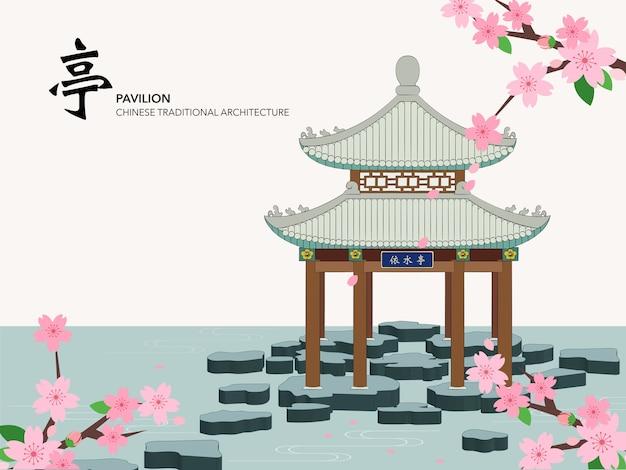 물 핑크 사쿠라에 중국 전통 건축 건물 파빌리온 프리미엄 벡터
