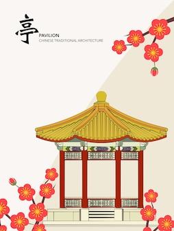 中国の伝統的な建築物の建物のパビリオン梅の花