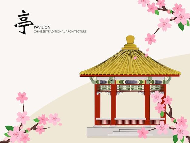 중국 전통 건축 건물 파빌리온 사쿠라 벚꽃
