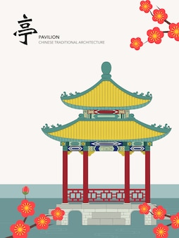 Chinese traditional architecture building pavilion on the water plum blossom