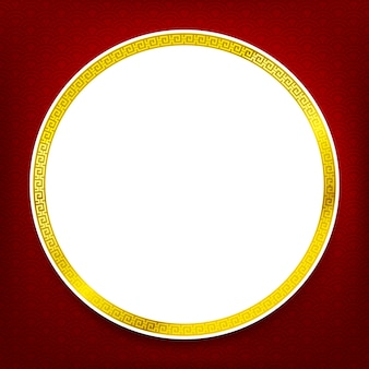 Chinese traditional art blank frame red circle boarder