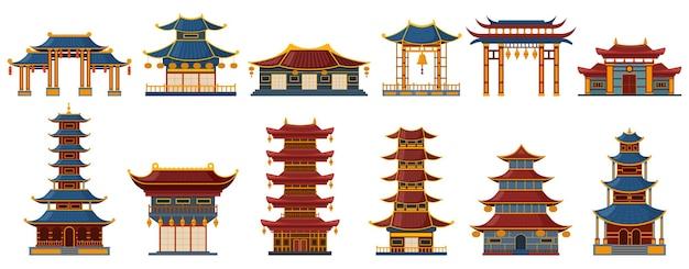중국 전통 건물. 아시아 전통 건물, 탑 게이트, 사원 및 궁전 유산 세트