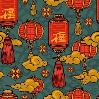 빈티지 스타일 그림에서 붉은 등불 꽃 구름과 중국 전통 요소 원활한 패턴