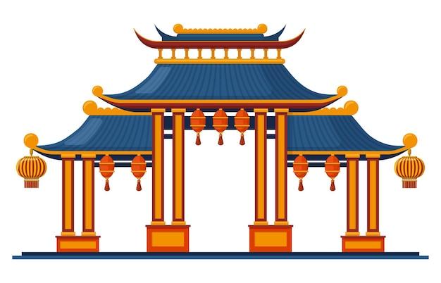 중국 전통 입구. 아시아 전통 건축 탑 게이트 그림