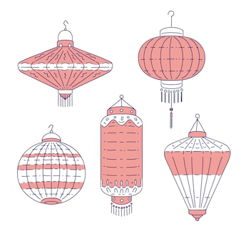 Chinese traditional lanterns different form.  line art set flashlights for decoration at home and outside. national symbol of china culture