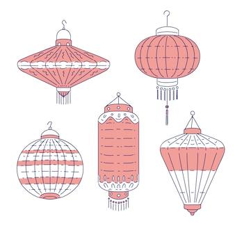 中国の伝統的な提灯は異なる形です。家と外の装飾のための線画セット懐中電灯。中国文化の国のシンボル