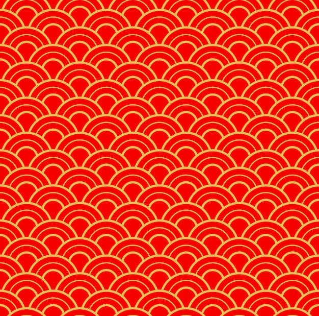中国の伝統的な新年のシームレスなパターン。金と赤の新年とクリスマス